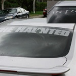 theHaunted & in flames car sticker