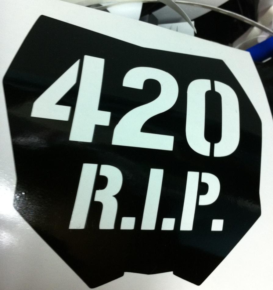 420 R.I.P. motocross number plate