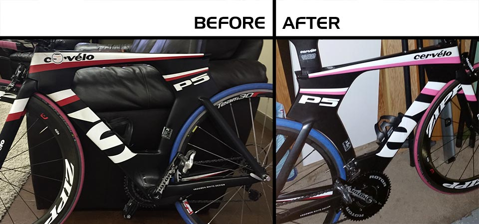 Colour change on a Cervelo bike, from red to pink.