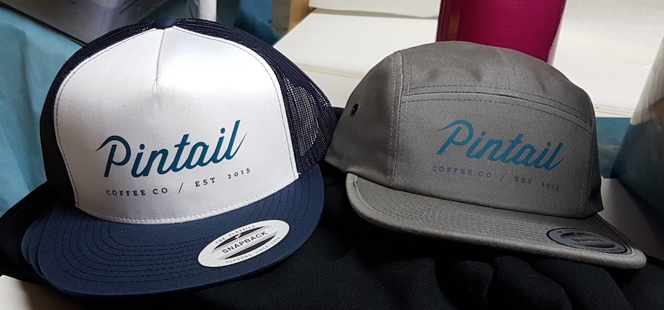 Flexfit hats for Pintail Coffee Roasters of Calgary